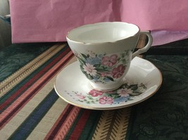 Crown Trent Fine Bone China Staffordshire Tea Cup & Saucer floral w/ Gold Rim - $17.50