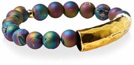 NEW Gemelli Rainbow Druzy Quartz Beaded Gold Glam Bar Bracelet NWT