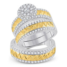 14k Two-tone Gold His Her Diamond Cluster Matching Bridal Wedding Ring S... - $3,027.92