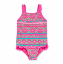 Swimsuit Girls Size M Breaking Waves Chevron-Ruffle 2-pc XL Msrp $34.00