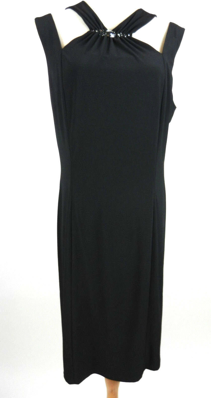 Anne Klein 14 Womens Dress Black Sleeveless Cutouts at Shoulders Lined Evening - $49.49