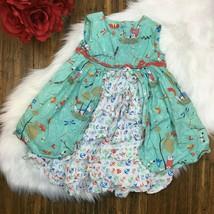 Jelly the Pug Girls Green Ruffled Anchored & Birds Sleeveless Dress Size 4 - $17.99