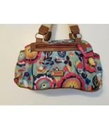 Lily Bloom Strawberry Flower Print Blue Satchel Handbag Pockets Zip Clos... - $24.99