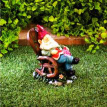 Solar Red Bird Rocking Chair Gnome - $21.81
