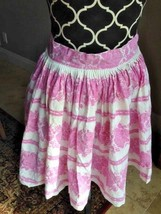 Great gift for her vintage ladies apron pink flowers on white pleated ha... - $6.79