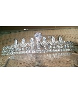 Luxury Cubic Zirconia Bridal , Wedding Silver Plated Tiara T-022 - $24.50