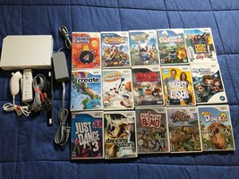 Nintendo Wii White System w/15 Games Console Bundle - Gamecube Compatible Family - $69.29