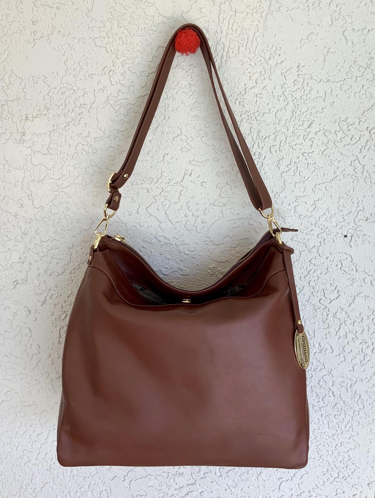 30c21cc42cc2 New Giordano Made in Italy Brown Italian Leather Hobo Handbag Shoulder Bag