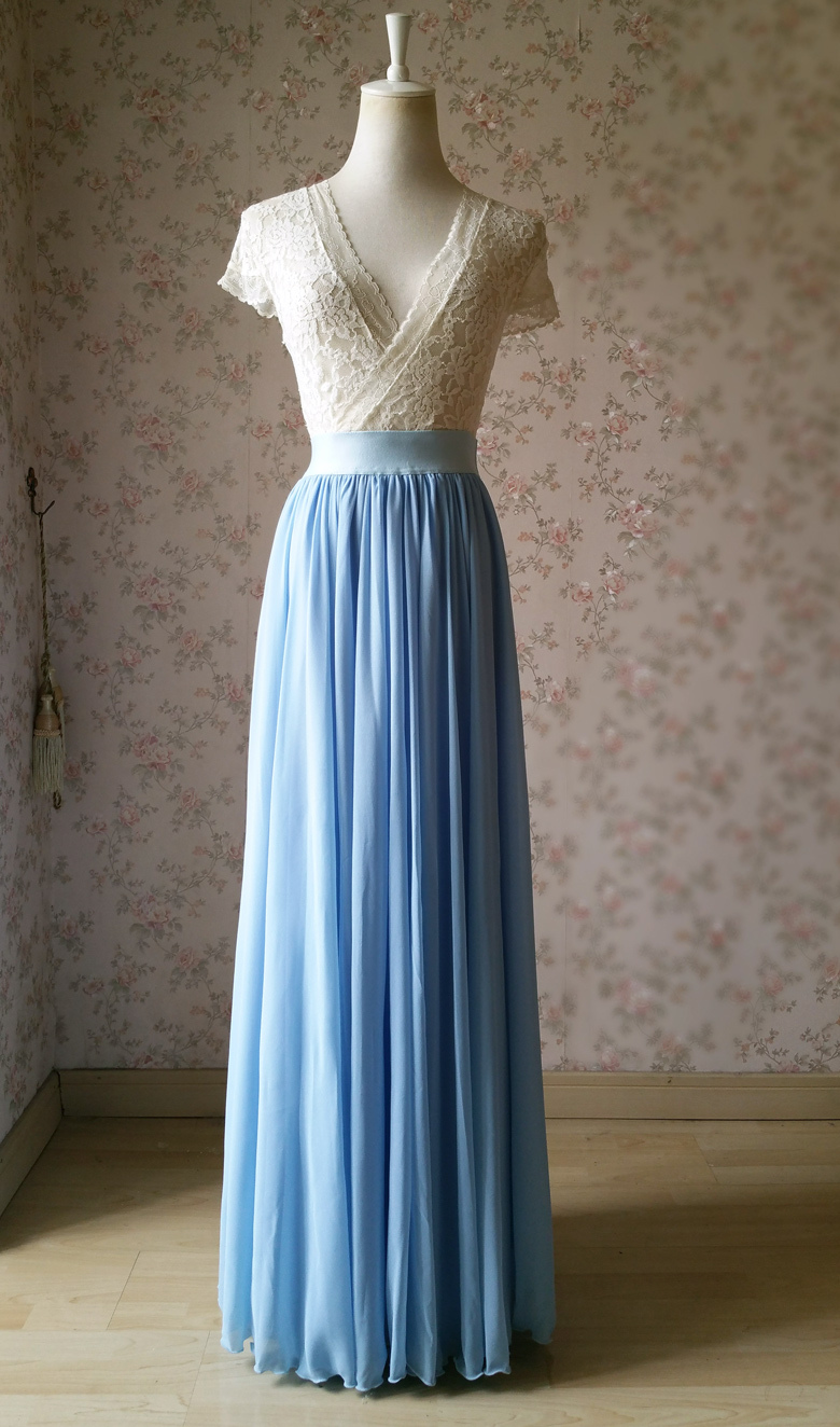 Lightblue maxi skirt chiffon wedding beach 780 1