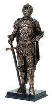 """Medieval Knight Statue Bronze Finishing Cold Cast Resin Statue 11 3/4"""" tall - $49.49"""
