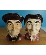 "2 Vtg Royal Copley Colonial Woman & Man Pottery 8"" Head Vases Wall Pocke... - $64.35"
