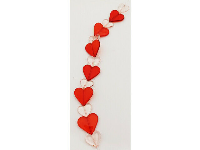 Acrylic Heart Beads, 11 Inches, Red and Pink