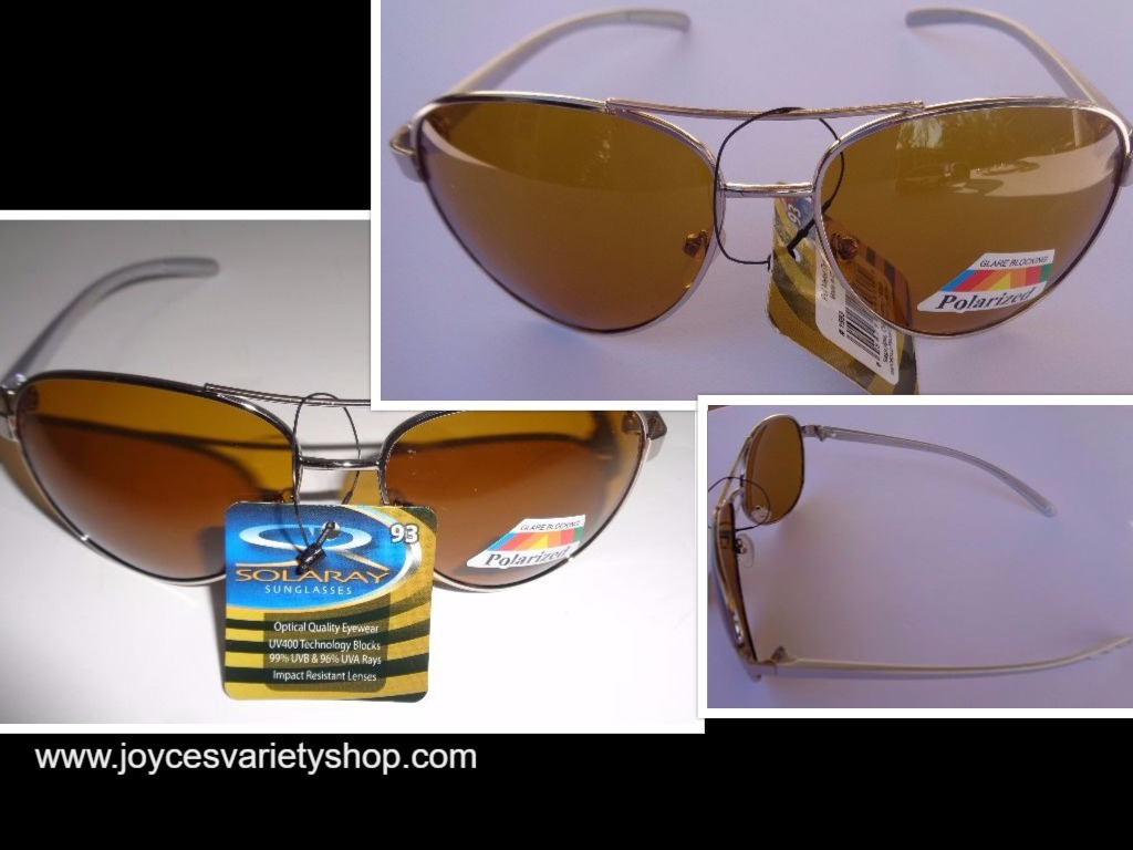 Primary image for Solaray Metal Polarized Silver Frame Sunglasses NWT Gold Lens 100% UVA UVB Prote