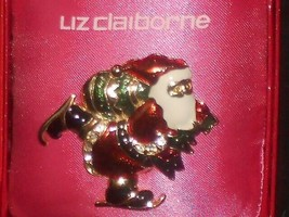 Liz Claiborne SANTA CLAUS Ice Skating Jewelry Pin Christmas Brooch in Box Signed - $14.99