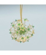 Beaded Round Starburst Ornament Green Sequins Accent Gold stars Clear Be... - $6.90