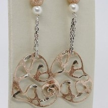 925 STERLING SILVER ROSE PENDANT EARRINGS, BOW, BIG WORKED HEART, WHITE PEARLS image 2