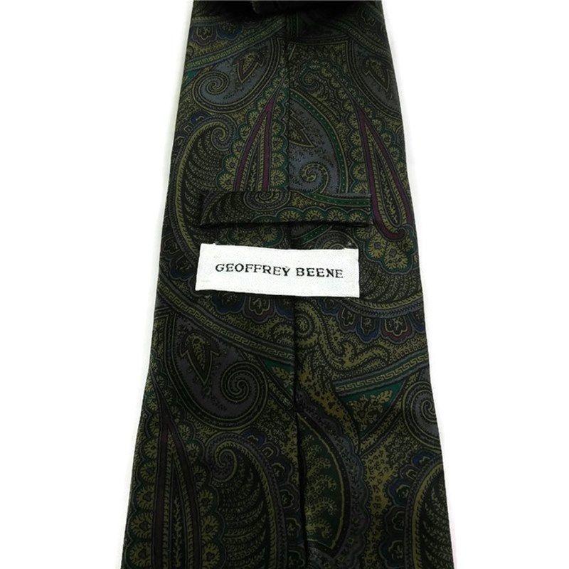 Geoffrey Beene Men's Necktie 100% Silk Green Paisley image 2