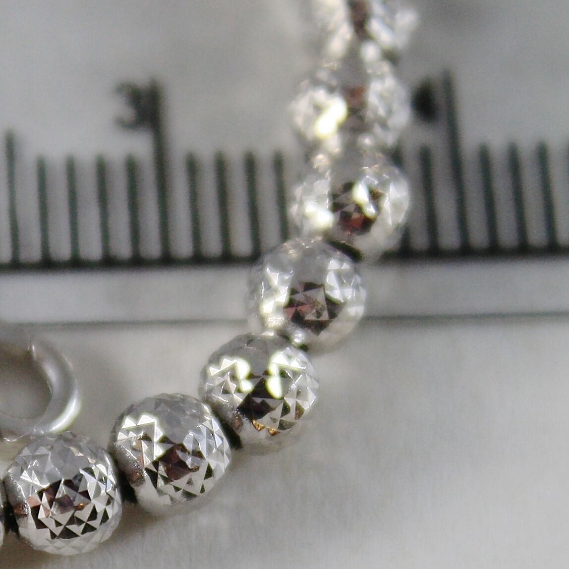 18K WHITE GOLD BRACELET WORKED BALL BALLS SPHERES 4 MM, 7.50 IN MADE IN ITALY image 2
