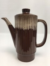 "Brown Drip Coffee Tea Pot Pitcher Teapot Hull Ripple Side 6.5"" Tall X 3.... - $24.50"