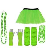 Ladies Neon UV Tutu Set Skirt Gloves Leg Warmers Bracelet Beads 80s Cost... - $12.47
