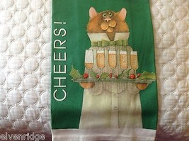 Green Cotton kitchen Towel holly champagne christmas cat USA made CHEERS