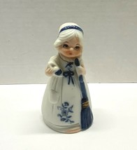 "Jasco Blue and White Porcelain Bell Woman Sweeping 4"" Tall Taiwan - $9.95"