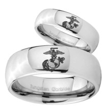 Bride and Groom Marine Mirror Dome Tungsten Carbide Mens Promise Ring Set - $79.98
