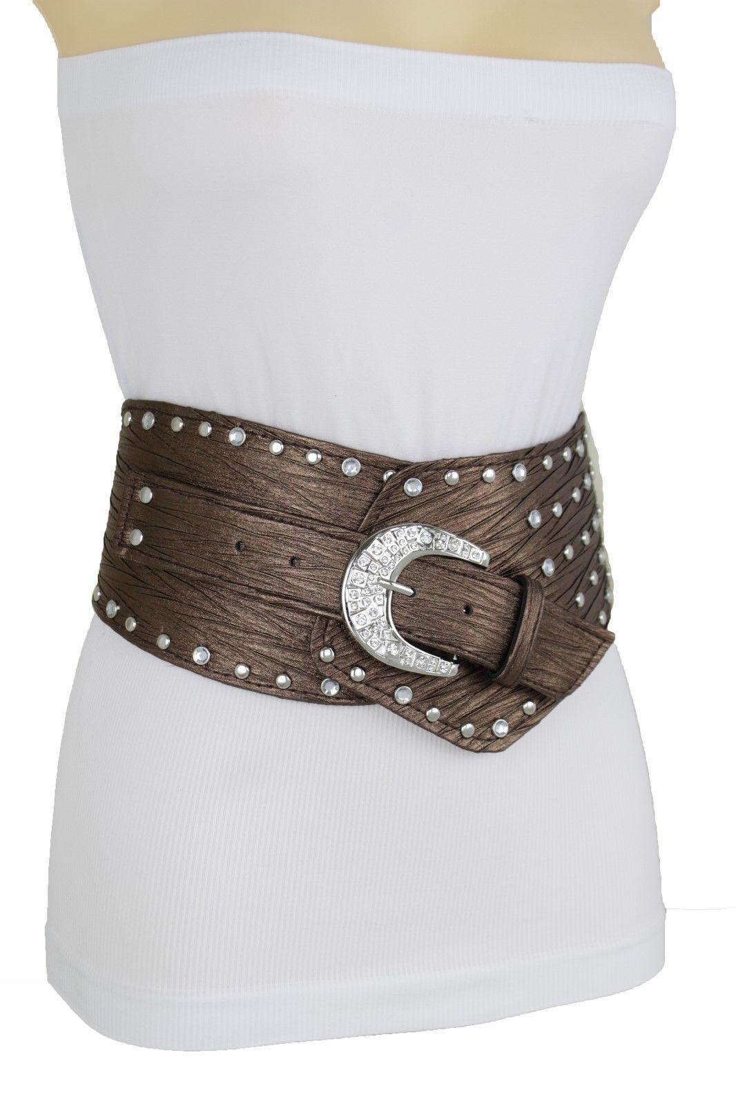 Sexy Damen Metallisch Braun West Gürtel Hüfte Taille Silber Bling Anhänger