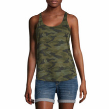 Arizona Women's Juniors Racerback Tank Top Green Camo Size X-SMALL New - $14.84