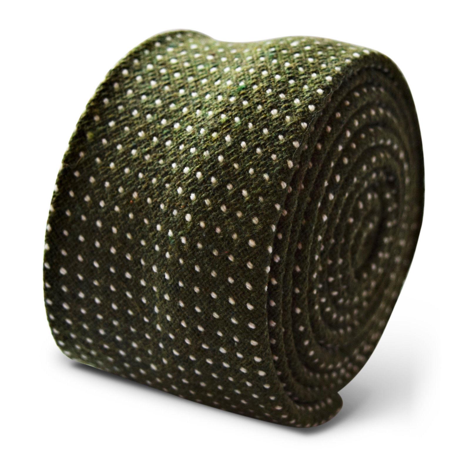 Frederick Thomas Dunkel Flasche grün und weiß Punkte 100% Wolle Herren Krawatte