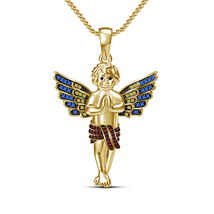 Gold Plated Beby Angel Pendant 925 Silver Chain Necklace Fashion Women Jewelry - $63.00