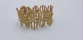 Vintage Crown Trifari 1959-69 Wide Gold Tone Stick Like Style Mod Bracelet EUC - $67.82