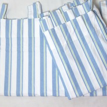Pottery Barn Kids Stripe Blue Green 2-PC 86 x 63 Tab-Top Curtain Panels - $46.00