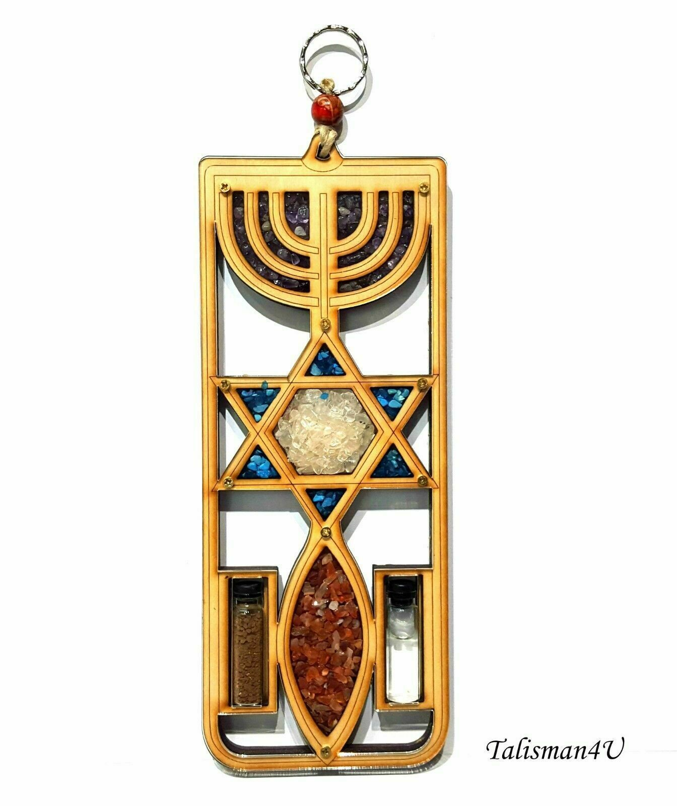 Primary image for MESSIANIC SEAL Wall Hanging Home Decor JERUSALEM Menorah Wooden Holy Land Gift