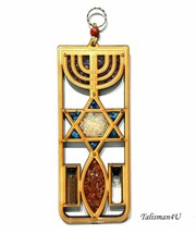 MESSIANIC SEAL Wall Hanging Home Decor JERUSALEM Menorah Wooden Holy Lan... - $33.73