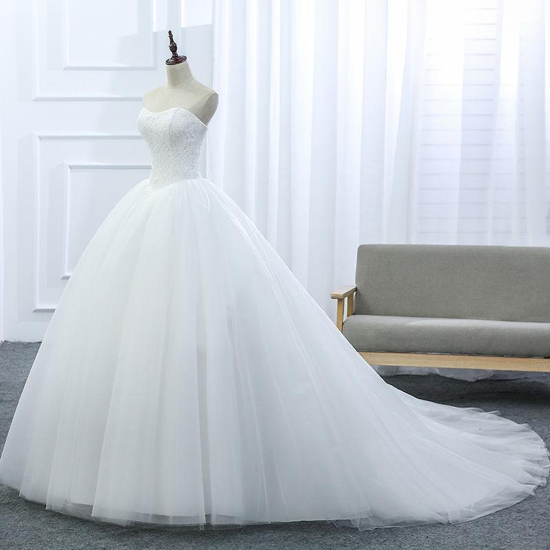 Lace Strapless Sleeveless White Satin Bridal Wedding Dress Wedding Ball Gown image 5