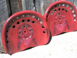 TWO RED Steel tractor Farm machinery metal stool seat s New Old Style bz - $119.98