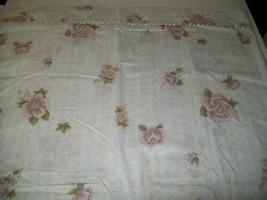 Brown Roses Flower Twin Single Bed Flat Sheet Satin Ribbon Trim Material... - $5.40