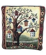 BEAUTIFUL! Tapestry CLUBHOUSE BIRD HOUSE Watching Garden Decor Pillow 15... - $71.99