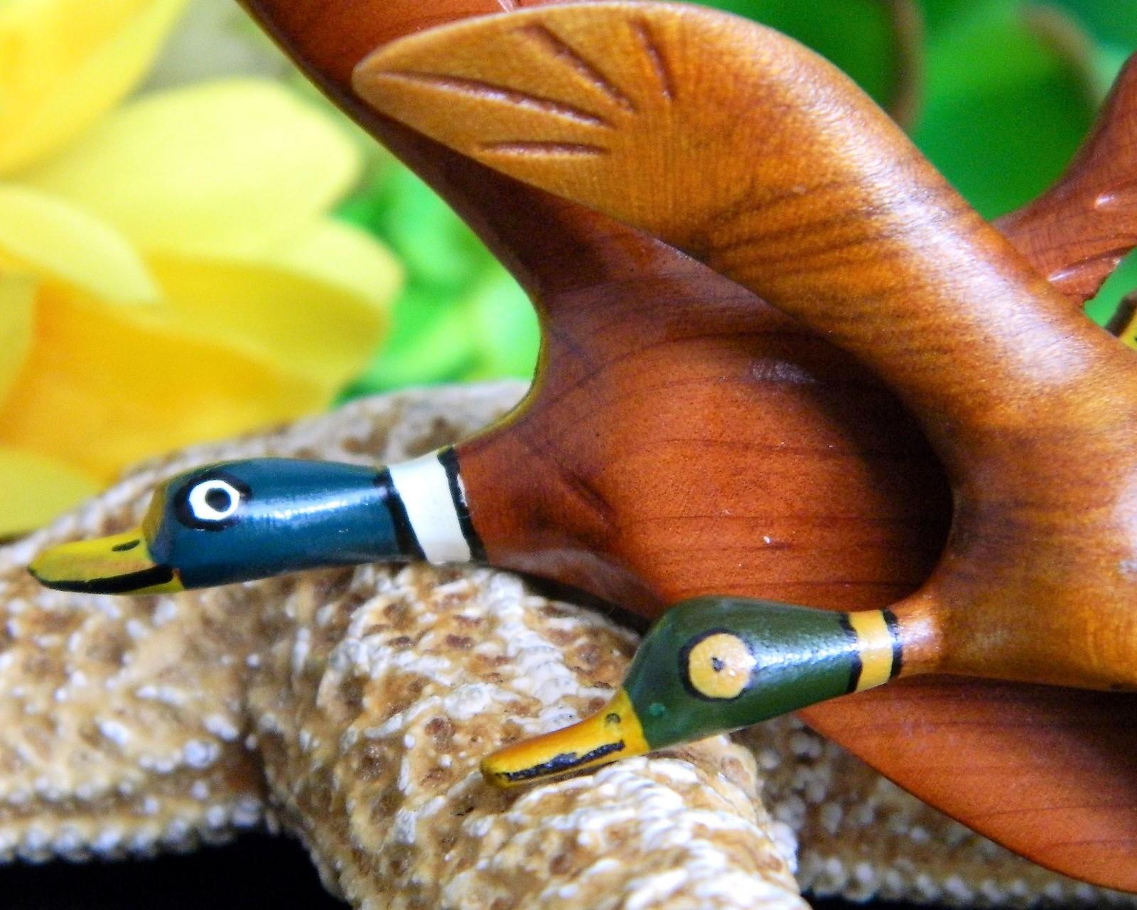 2 Vintage Mallard Duck Brooch Pin Carved Wood Figural Minear Studio