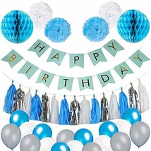 Blue Birthday Party Decorations - Blue White and Silver Party Supplies f... - $19.54
