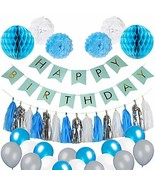Blue Birthday Party Decorations - Blue White and Silver Party Supplies f... - $15.02