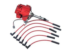 A-Team Performance HEI Distributor Red Cap and Spark Plug Wires Red Set Compatib