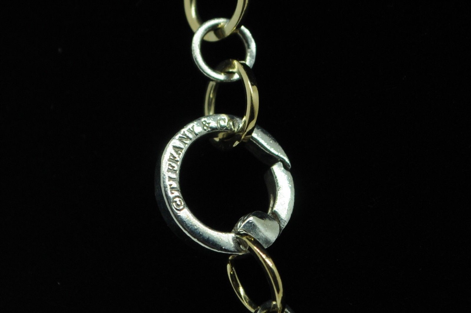 """TIFFANY & CO. Sterling Silver and 18K Yellow Gold Circle Link Necklace (19"""" +/-)"""