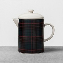 Stoneware Beverage Server/Pitcher Plaid Red/Blue Hearth & Hand with Magn... - $19.75
