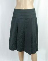 d3c8ade344c8 Elie T Tahari Black Leopard Print Jacquard Box Pleated Dressy A-line Skirt  SZ 6
