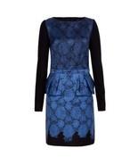 $750 TIBI Blue BLACK Floral PEPLUM Dress NATALIA Print 6 FREE SHIPPING - $349.97