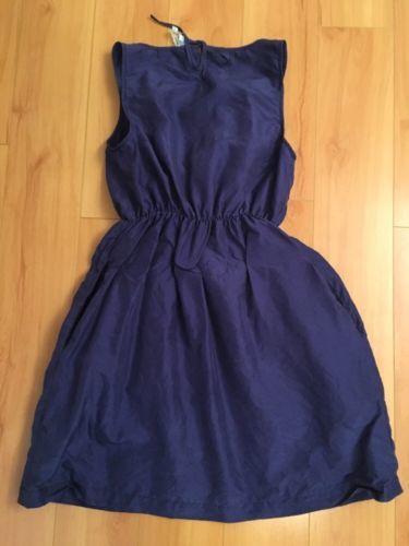 Anthropologie Maeve Women's Dress Beginnings Blue Ruffle Front Silk Sleeveless S