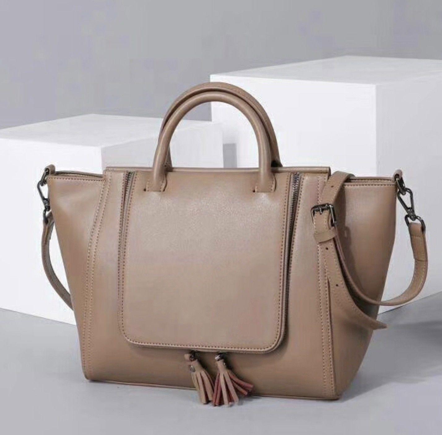 New Smooth Italian Leather Camel Brown Winged Satchel Handbag