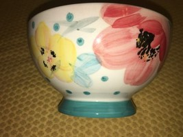 "PIONEER WOMAN Bloom Dots turquoise footed bowl stoneware 6"" decorative f... - $19.95"